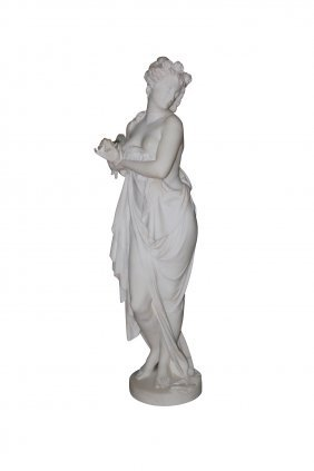 19th C. French Marble Sculpture Of Classical Lady