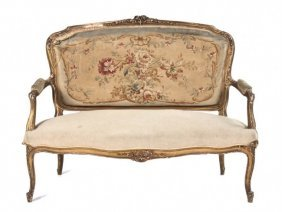 Antique French Louis XV Style Giltwood Settee