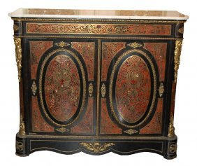 19th C. French Boulle Buffet W/ White Marble Top