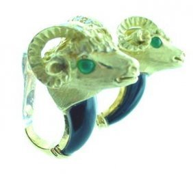 18k Yellow Gold Onyx Ram's Head Earrings