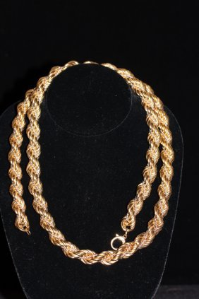 14k Yellow Gold Large Braided Rope Chain, 37 Inch