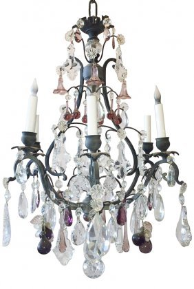 French Patinated Metal And Crystal 6-light