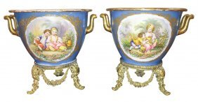 Pair Of French Sevres Jardineres On Bronze
