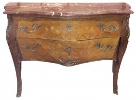 French Louis Xv Style Marquetry Inlaid Commode