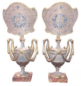 Pair Of Italian Painted Urn Form Lamps