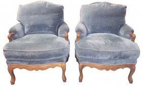 Pair Of Large Scale French Style Armchairs