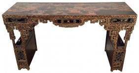 19th C. Chinese Lacquered Console