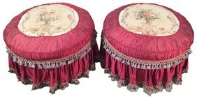 Pair Of French Silk Ottomans With Aubusson Tops