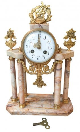19th C. French Marble & Bronze Mantel Clock
