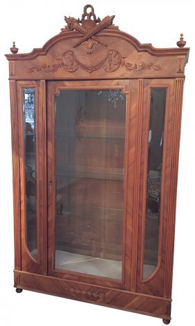 French Louis Xvi Style Carved Walnut Display