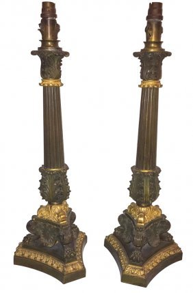Pair Of French Empire Candlesticks, Patinated