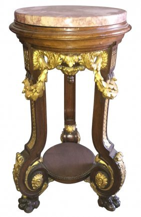 Antique French Carved And Parcel Gilt Walnut