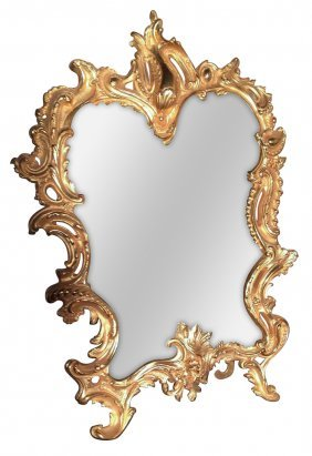 19th C. French Dore Bronze Vanity Mirror