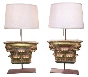 Pair Of 18th C. Italian Elements As Lamps