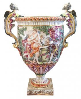 Large 19th C. Capo De Monte Porcelain Vase