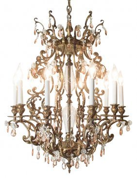 Italian Bronze And Pink Crystal Chandelier