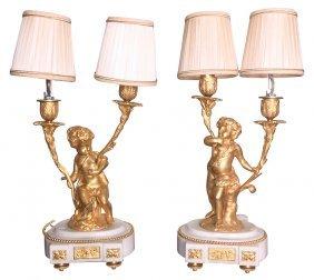 Fine Pair Of French Dore' Bronze Cherub Lamps