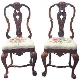 Pair Of 19th C. Dutch Burl Walnut Side Chairs