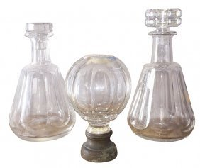2 French Stamped Baccarrat Crystal Decanters