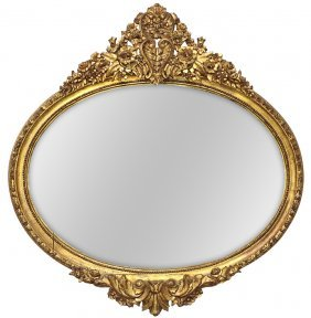 French Louis Xvi Style Oval Giltwood Mirror