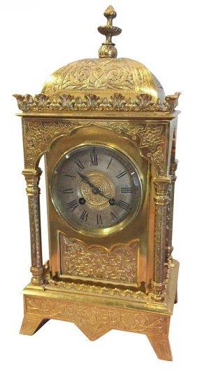 19th C. English Gilt Bronze Mantel Clock