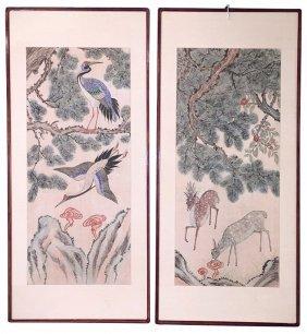 Pair Of Antique Oriental Watercolors