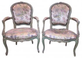 Pair Of French Louis Xv Style Armchairs,