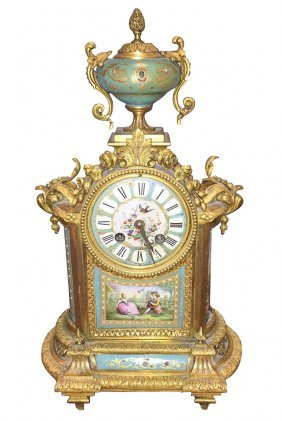 French Sevres And Bronze Mantel Clock