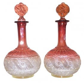 Pair Of Baccarat Rose Glass Decanters