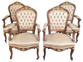 Set Of 4 French Walnut & Bronze Armchairs