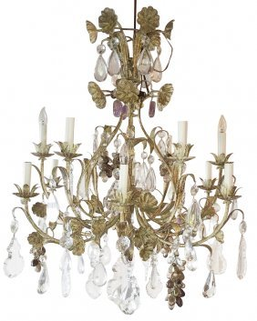 Patinated Iron And Rock Crystal Chandelier