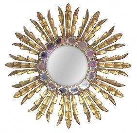 Italian Giltwood Starburst Mirror