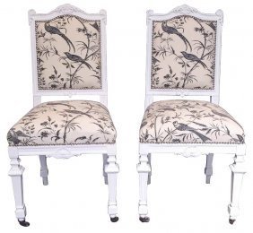 Pair Of French Louis Xvi Painted Side Chairs