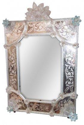 Antique Venetian Etched Glass Mirror