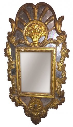An 18th C. Italian Gilt-wood Mirror, Grape And