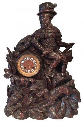 19th C. German Black Forest Carved Clock