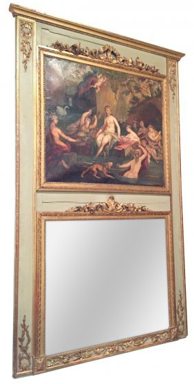 18th C. French Trumeau Mirror With