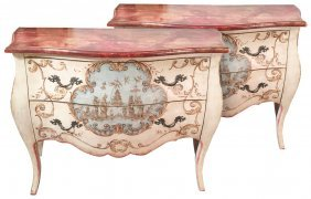 Pair Of Italian Painted Bombe' Commodes