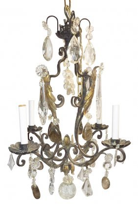 French Patinated Iron Chandelier