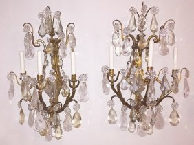 Nice Pair Of French Bronze 3-light Wall Sconce