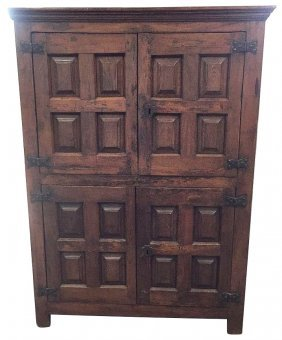 18th C. Spanish Carved Oak Cabinet