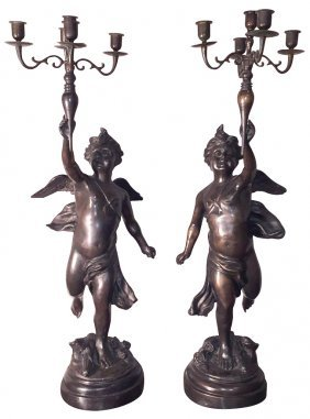 Pair Of French Style Spelter Putti Candelabra