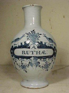 """Vase, Blue & White, """"A.RUTHAE"""""""