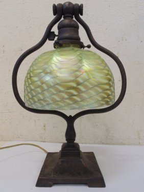 Tiffany Desk Lamp With Favrile Shade, Harp,