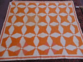 Quilt, White & Orange, Geometric Pattern