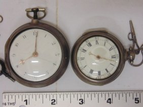 2 Early Silver English Pocket Watches, 18th Century
