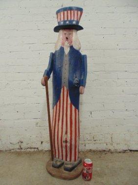 "Wood Figure,""uncle Sam"", By Lloyd Waldon, 48.5"" Tall"