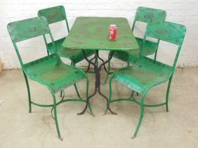French Paint Decorated Iron Table & 4 Chairs,