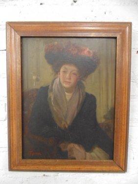Oil On Board, Portrait Woman, Signed Edmond Thomas