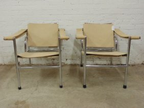 Pair Mid Century Chrome & Leather Sling Arm Chairs